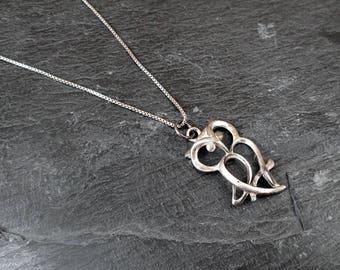 925 Sterling Silver Owl Necklace - Vintage
