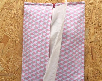 Pocket tissue gray and pink - Grey and Pink Fabric Pouch for tissues