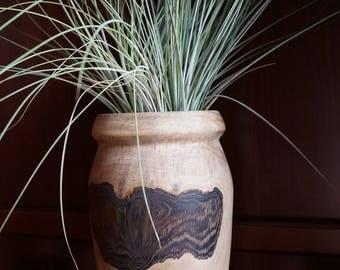 Walnut weed pot - vase