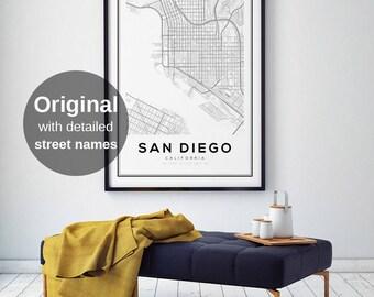 San Diego Map Print California Map Us Map Print San Diego California