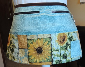 Beautiful sunflower vendor apron with lovely blue-ish green/gray background