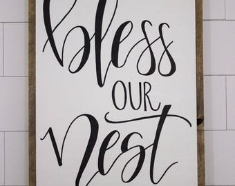 Bless Our Nest - framed sign - hand lettered sign - fixer upper - hand painted sign - farm house decor