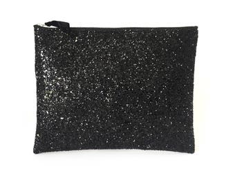 Black Glitter Clutch Bag, Wedding Clutch Bag, Party Bag, Prom Clutch, Glitter Wallet, Glitter Purse, Bridesmaid Clutch, Gift for Her,