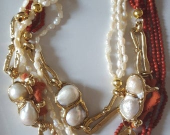 Baroque pearls and coral necklace