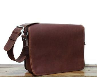Large Leather Messenger Bag for Men and Women Crossbody Bag, Leather Laptop Bag, Postman leather bag Man and Woman Brown, Mens Bag