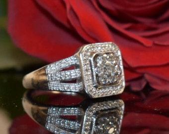 Estate Vintage Diamond Halo Cluster Ring, Wedding Ring, Anniversary Ring, Estate Diamond Ring, Size 7.25 Ring, Silver Diamond Ring, Jewelry