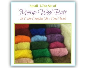 Needle Felting Wool Batt, Complete Set - 18 colors of New Zealand Merino Felting Wool (5g ea) & Organic Core Wool (15g) - 3.8 oz total