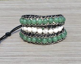 Wrap Bracelet, Gemstone Wrap Bracelet, Leather Wrap Bracelet, Beaded Wrap Bracelet, Beaded Bracelet, Leather Wrap, YoungBeadsCrafts