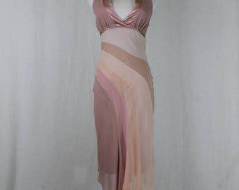 Vintage Bebe Pink and Beige 100% Silk Bias Cut Asymmetrical Hem Halter Dress XS