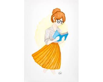 Lizzie (Reader Girl) // Watercolor Illustration Cartoon Character Reading Jane Austen Pride and Prejudice Inspired Print