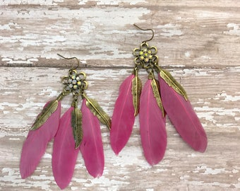 Pink feather earrings, Handmade feather earrings, Pink earrings, Real feather jewelry, Girly earrings,boho earrings,