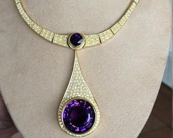 Burle Marx 18 Karat Gold Amethyst and Diamond Necklace