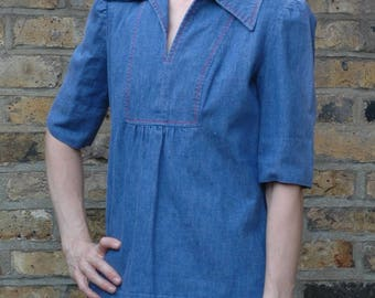 Vintage 1970s denim smock top blouse folk, S/M