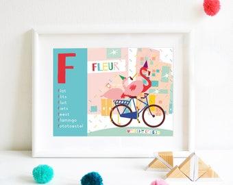 F-Personalized ABC poster, Nameposter, Birthposter, Babyposter, Gepersonaliseerde Geboorteposter, Alfabetposter, Babyposter in Dutch