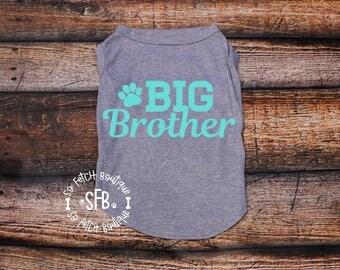 Big Brother Dog Tee - Custom Dog Shirt - Custom Dog Tees - Sibling Dog Shirt - Dog Shirt - Dog Tee - Dog Tank - Custom Dog Tank