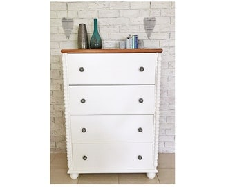 New Refurbished Coastal Hamptons Large Solid Timber Tallboy Dresser 4 Drawers