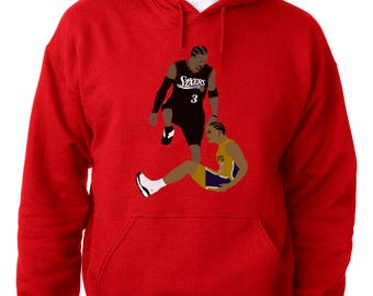 "RED Allen Iverson Philadelphia ""The Stepover""  HOODED SWEATSHIRT"