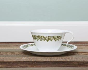 Corelle Crazy Daisy Spring Blossom Tea Cup and Saucer-Hook Handle Cup Saucer-Corelle Livingware by Corning-Stackable Cups Vintage Kitchen