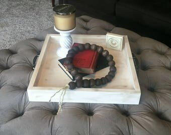 Rustic Farmhouse Style Wood Coffee Table Ottoman Tray with Handles. Wood serving tray, wooden tray, Farmhouse Wood Tray, Tray with Handles