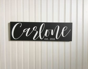 Wooden Signs For Home, Custom Name Sign, Family Established Sign, Last Name Established Sign, Wedding Gift, New Home Housewarming Gift