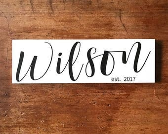 Last Name Sign, Family Established Sign, Personalized Name Signs, New Home Housewarming Gift, Wedding Gift, Custom Name Signs,