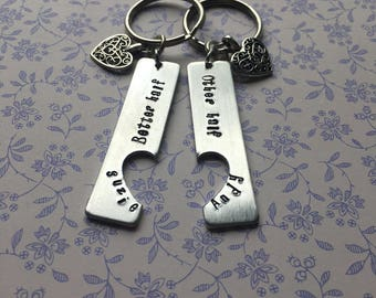 BETTER HALF KEYRING / handbag charm valentines day anniversary engagement wedding gift husband wife girlfriend boyfriend