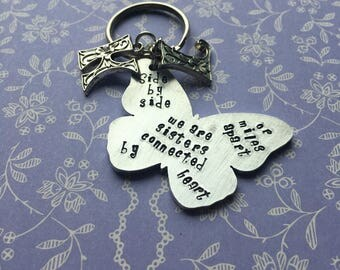 SISTER KEYRING GIFT / handbag charm handstamped personalised