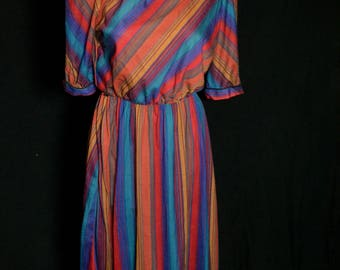 Vintage Womens Multi Colored Striped Day Dress