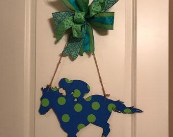 Kentucky Derby, Derby Door Hanger, Horse & Jockey, Front Door Hanger, Talk Derby to Me, Hand Painted, Ready To Ship