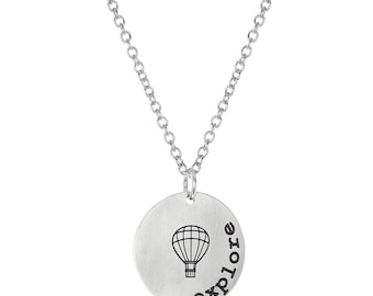 """Parachute Explore Inspirational Round Coin Pendant with Stainless Steel, 18"""" Chain Necklace"""