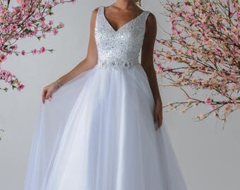 Wedding Gown with beadwork  and flowers