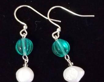 Aqua glass and freshwater pearl earrings