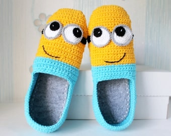 Crochet minions slippers, shoes for all family, funny gift, fathers day, sandals, big size shoes, Felt sole, slippers for men