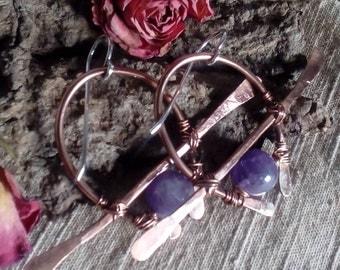 Tribal earrings copper raw jewelry 925 silver earrings modern big long wire wrap purple earrings dramatic rough jewelry