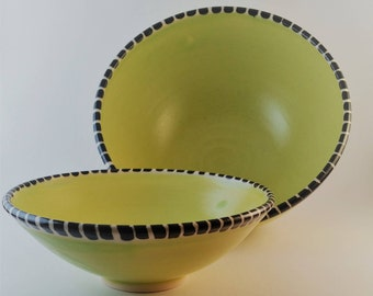 Medium bowl with matching small bowl, great for chips and dip or olives and pit bowl