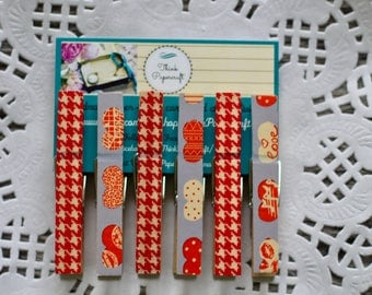 6 wooden clothes peg magnet set, red love heart with purple background pegs, wooden pegs, clothespin house-warming gift set