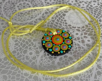 FREE SHIPPING / Hand Painted Necklace / Mandala / Dot Jewelry / Mandala Art / Dot Painted Pendant / Painted Wooden Necklace #A3