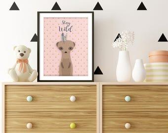 Girl nursery, Suricata, Woodland Nursery, Suricata Nursery, Meerkat, Animal print, Pink nursery, Baby Shower Gift, Nursery Decor, Printable