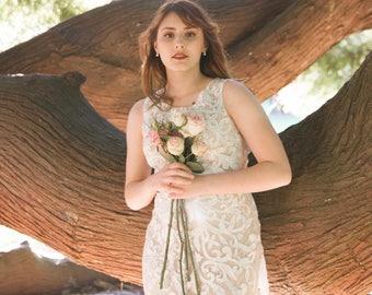 Annalise Sheer Lace Champagne Boho Lace Wedding Dress