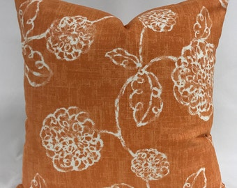 Pillow Cover - Modern Floral Design - Orange Pillow - Orange White Pillow - Fully Lined Pillow - Invisible Zipper - Lumbar Available