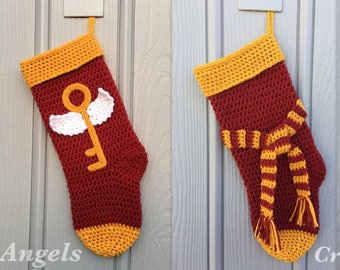 Crochet Christmas stocking, flying key stocking, scarf stockings, holiday stocking, gold stocking, Golden Ball Stocking, Christmas Stocking
