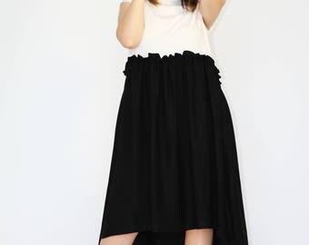 Asymmetrical white & black dress Extravagant dress Oversized dress Asymmetrical short sleeve dress White - black maxi dress Summer Dress