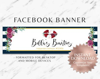 Navy Blue and Burgundy Floral LipSense and Business Facebook Banner Template