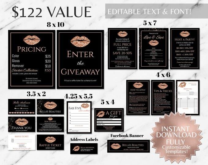 Featured listing image: Rose Gold Glitter and Black LipSense Branding Bundle