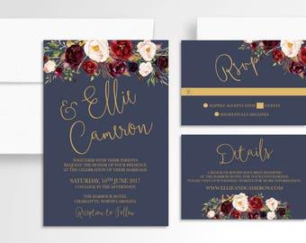 Floral Wedding Invitation // Invitation Suite // Marsala Navy Wedding Invitation // Wedding Stationery // Gold // Burgundy // Boho