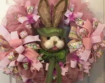 Rabbit flowers stripes mesh Easter Front door wreath, Easter wreath, Spring wreath,  Easter Bunny Pink wreath