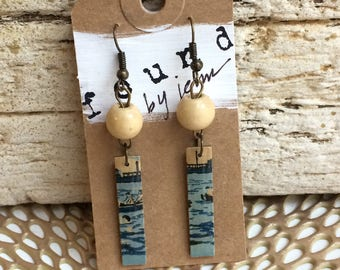Matchstick Earrings, Vintage Earrings, Vintage Matchsticks, Blue Earrings, Funky Earrings, Beach Jewelry, Recycled Jewelry, Gift for Her