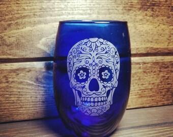 Sugar Skull Wine Glass, Blue Wine Glass, Cool Wine Glasses, Sugar Skull, Wine Glasses, Sugar Skull drink & Bar ware, Stemless Wineglass,