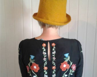 Felt stylish warm hat of mustard color for the woman, unique handmade hat, designer original hat in the single copy