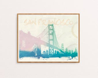 San Francisco Water Color Print, Wall Decor, Wall art, Typography Print, Digital Download